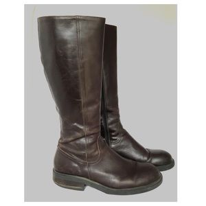 J. Crew Riding Boots Leather Brown Tall Zip 10